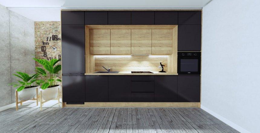 kuchnia-na-wymiar-czarna-nowoczesna-drewniany-panel