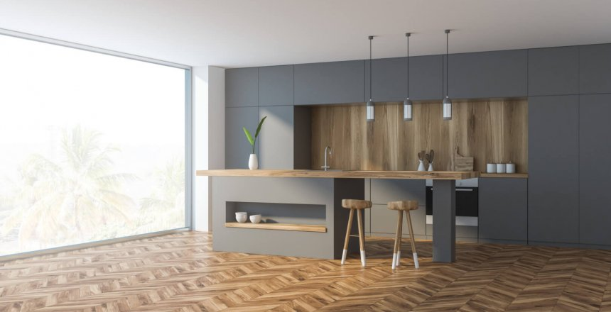 Corner of comfortable kitchen with white and wooden walls, wooden floor, panoramic window, grey countertops and bar with stools. 3d rendering